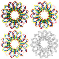 Four circular shapes similar to wicker patterns