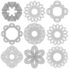 Set of nine black circular stencils