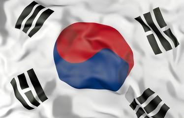 South Korea corrugated flag 3D illustration