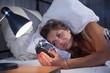 Leinwanddruck Bild - Junge Frau mit Schlafproblemen