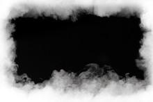 """Постер, картина, фотообои """"smoke cloud frame, isolated on black"""""""