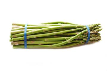 Organic Fresh Asparagus Stalks Over White