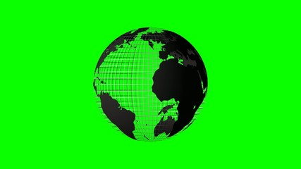 4k rotating world map grid green screen loop chroma key