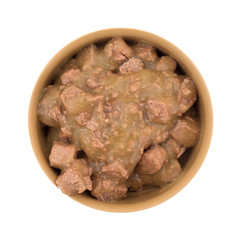 Chicken in gravy dog food in bowl