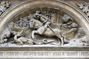 Bas-relief of the St George and dragon