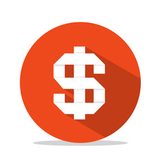 Vector Flat Design Dollar Sign in Red Circle