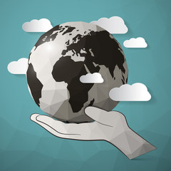 Paper Vector Planet Earth in Hand