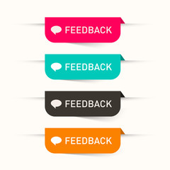Feedback Vector Paper Labels - Stickers Set - Web Icons