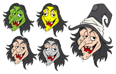 Set of Funny Evil Witch Vectors