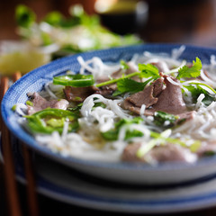hot bowl of pho with beef