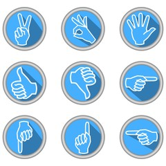 A set of icons with hand gestures in modern flat design