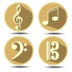 A set of music symbol in circle with long shadow. Treble clef