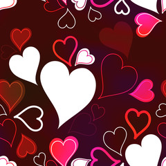 Romantic seamless background with hearts