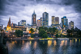 Melbourne city and the Yarra river at night.