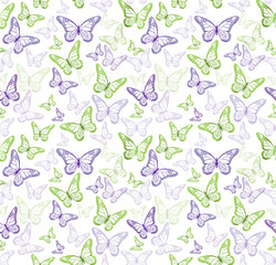 Colorful Butterflies Seamless Pattern. Vector Illustration