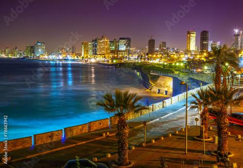 Foto op Aluminium Midden Oosten Tel Aviv. Night view from Jaffa