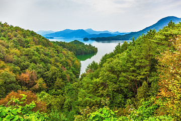 Mountains and lake landscape in Korea
