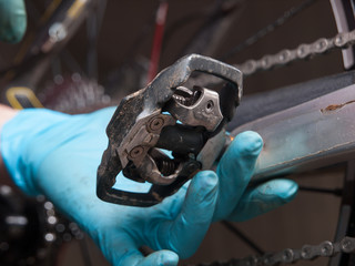 Detail of a pedal of a mountain bike