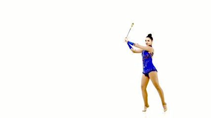 Professional gymnast performs exercises with juggling clubs
