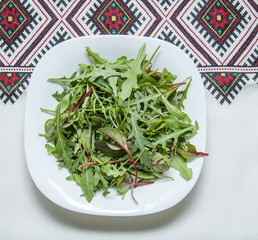 arugula (Rucola) on a plate and tablecloth national