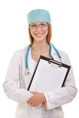 Female Doctor Standing with Stethoscope and Note Pad
