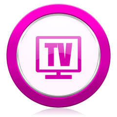 tv violet icon television sign