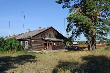 Old wooden hut in the village