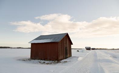 Barn in Winter Field