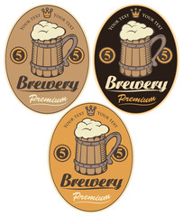 set labels for the beer with wooden mug