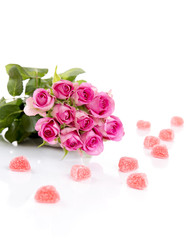 Roses with Candy Hearts