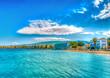 Leinwanddruck Bild beautiful beach inside the town of Kos island in Greece. HDR