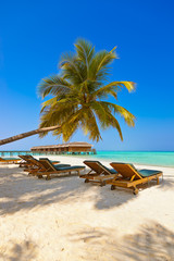Loungers on Maldives beach