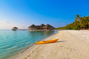 Boat on Maldives beach