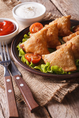 vegetarian samosas on a plate with tomatoes and lettuce vertical