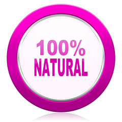 natural violet icon 100 percent natural sign