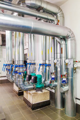 technological industrial boiler unit with piping and pumps