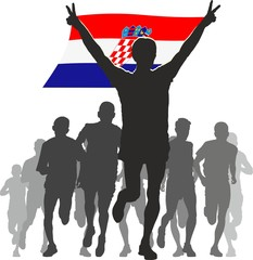 Athlete with the Croatia flag at the finish