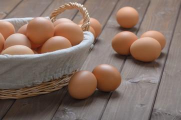chicken eggs in a basket