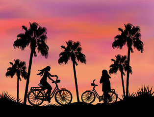 Bikers at Sunset