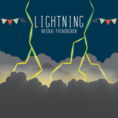 Lightning flash illuminating the clouds on a dark night.