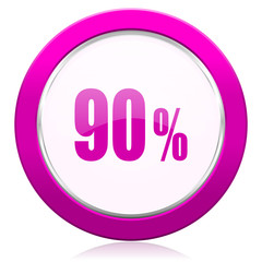 90 percent violet icon sale sign