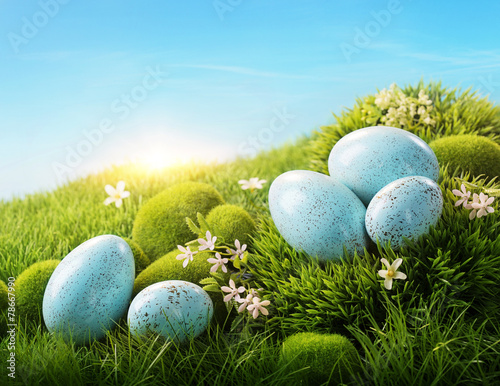 Blue easter eggs - 78667990