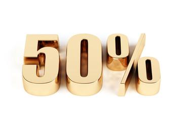 3d render of a gold 50 percent