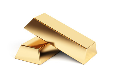 Gold bars isolated on a white background
