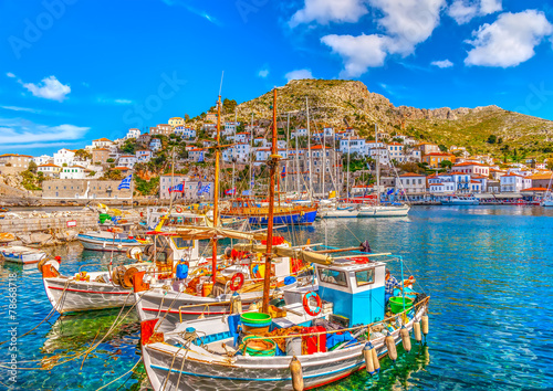 Leinwanddruck Bild fishing boats in the port of Hydra island in Greece. HDR