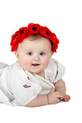 Portrait of baby girl with wreath
