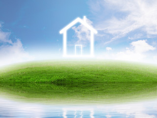 Real estate concept. Eco friendly house green meadow lake