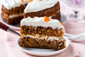 Mother's day carrot cake with swirls cream cheese frosting