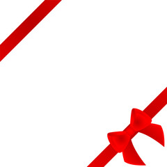 Red bow and ribbon on white background