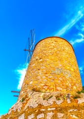 old windmill at Hydra island in Greece. HDR processed